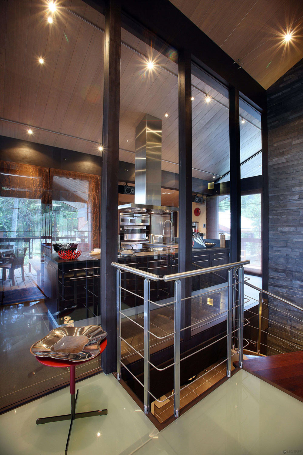 Kitchen, Glass Walls, Chalet E in Courchevel 1850, France