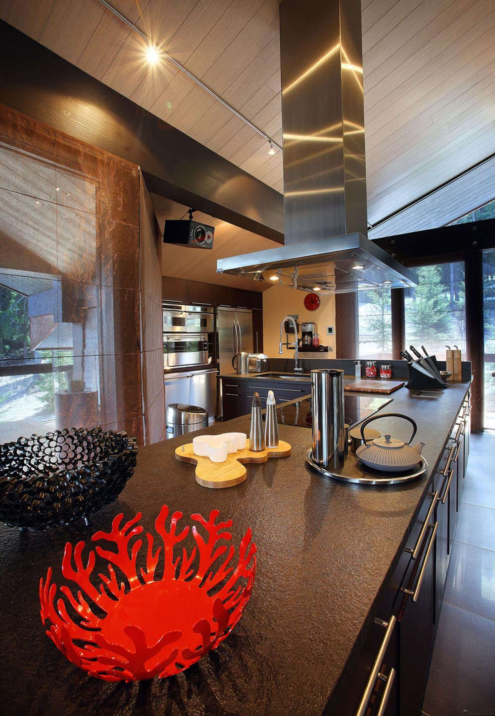 Modern Kitchen, Island, Chalet E in Courchevel 1850, France