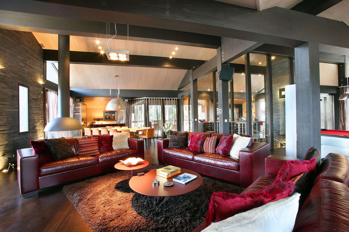 Red Sofas, Rug, Living Space, Chalet E in Courchevel 1850, France