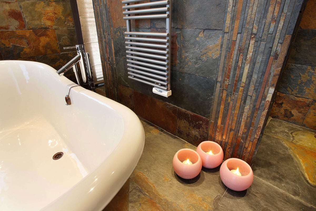 Slate Tiles, Bathroom, Chalet E in Courchevel 1850, France