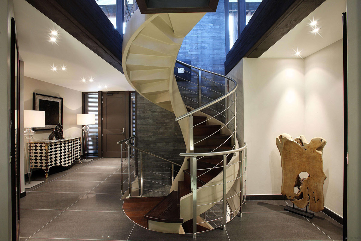 Spiral Stairs, Metal & Wood, Chalet E in Courchevel 1850, France
