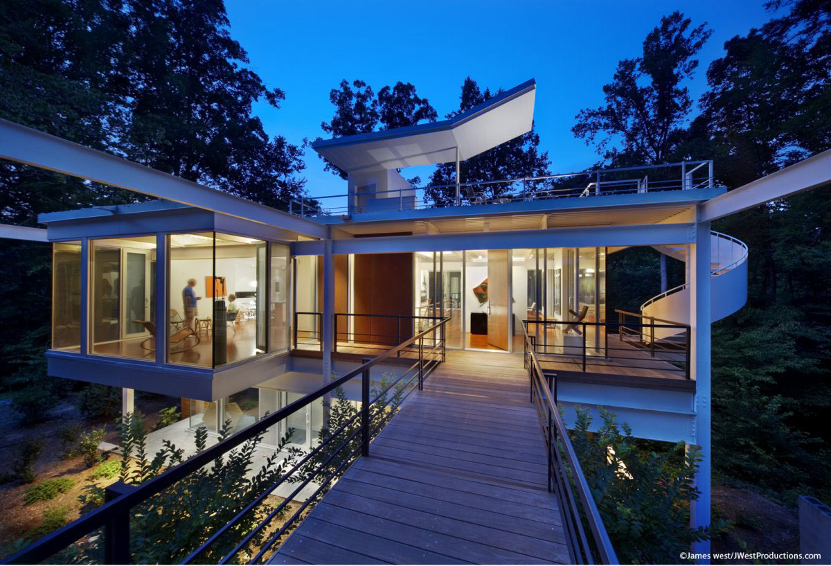 Bridge, Glass Walls, Front Door, Chiles Residence in Raleigh, North Carolina by Tonic Design + Construction
