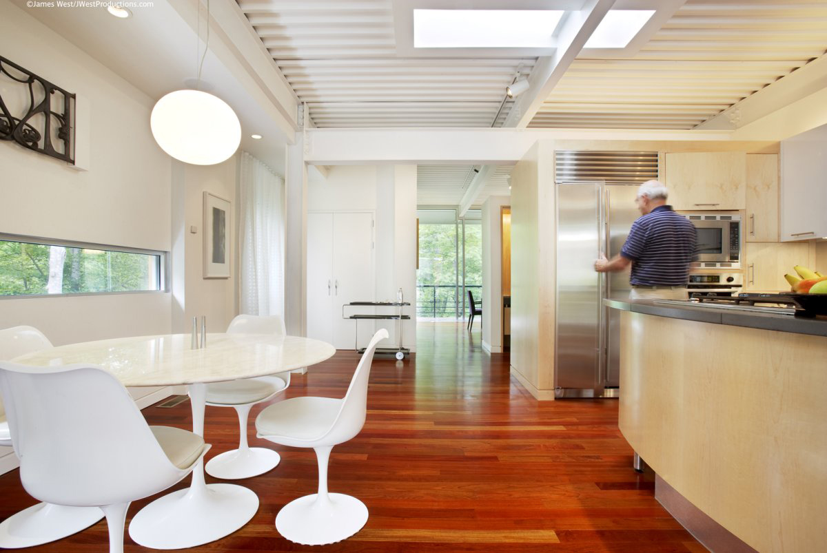 Kitchen, White Table, Chiles Residence in Raleigh, North Carolina by Tonic Design + Construction