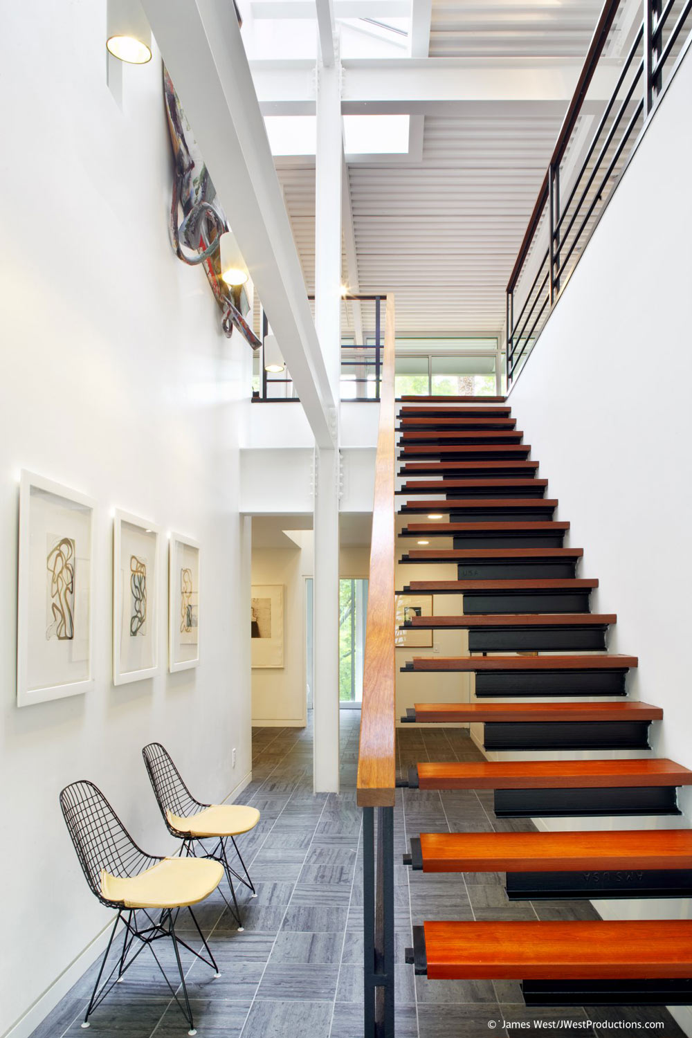 Modern Metal & Wood Stairs, Chiles Residence in Raleigh, North Carolina by Tonic Design + Construction