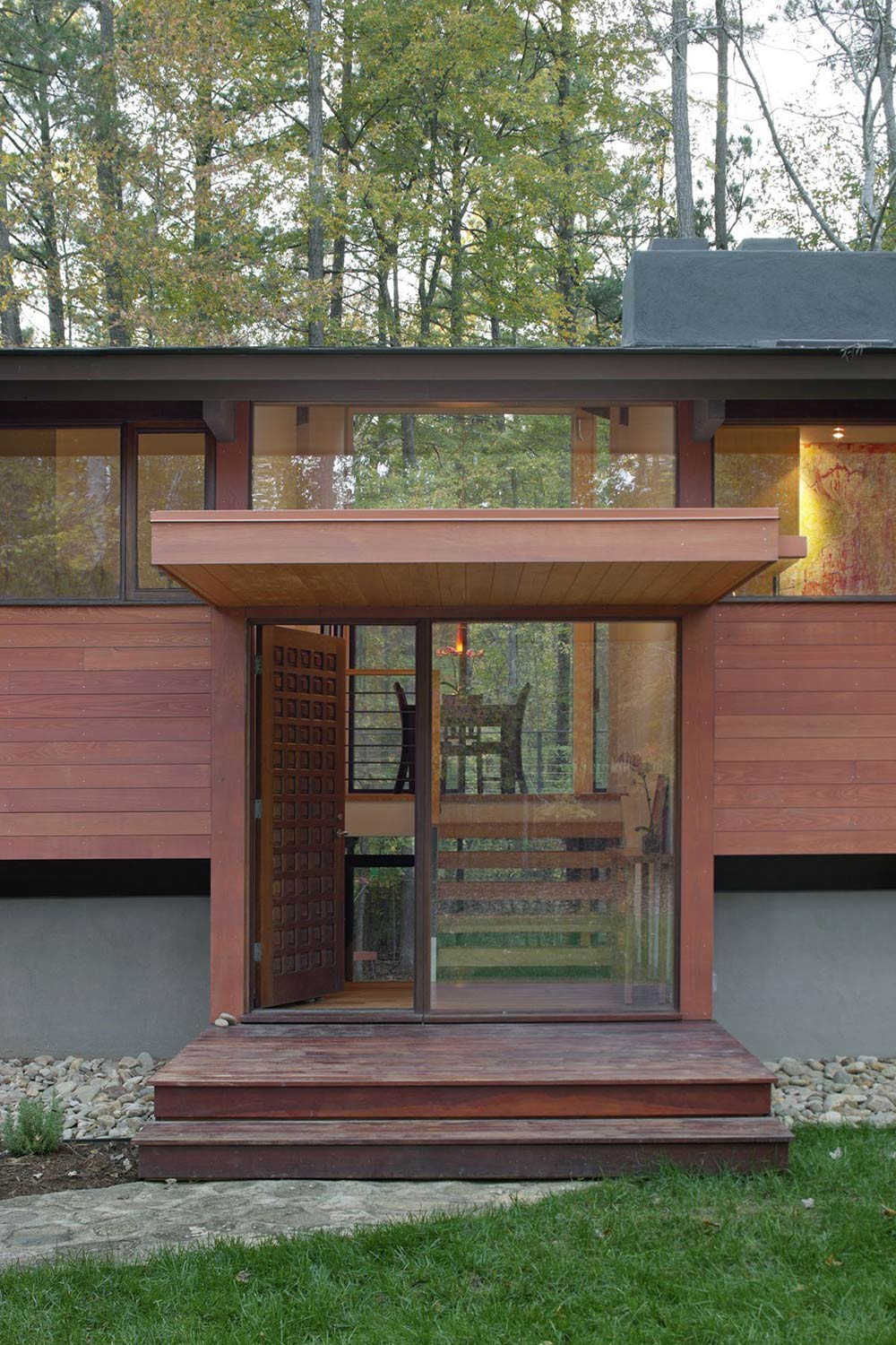 Entrance, Deck House Renovation in Chapel Hill, North Carolina