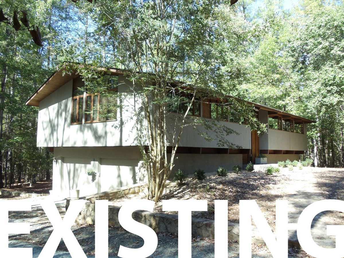 Existing Exterior, Deck House Renovation in Chapel Hill, North Carolina