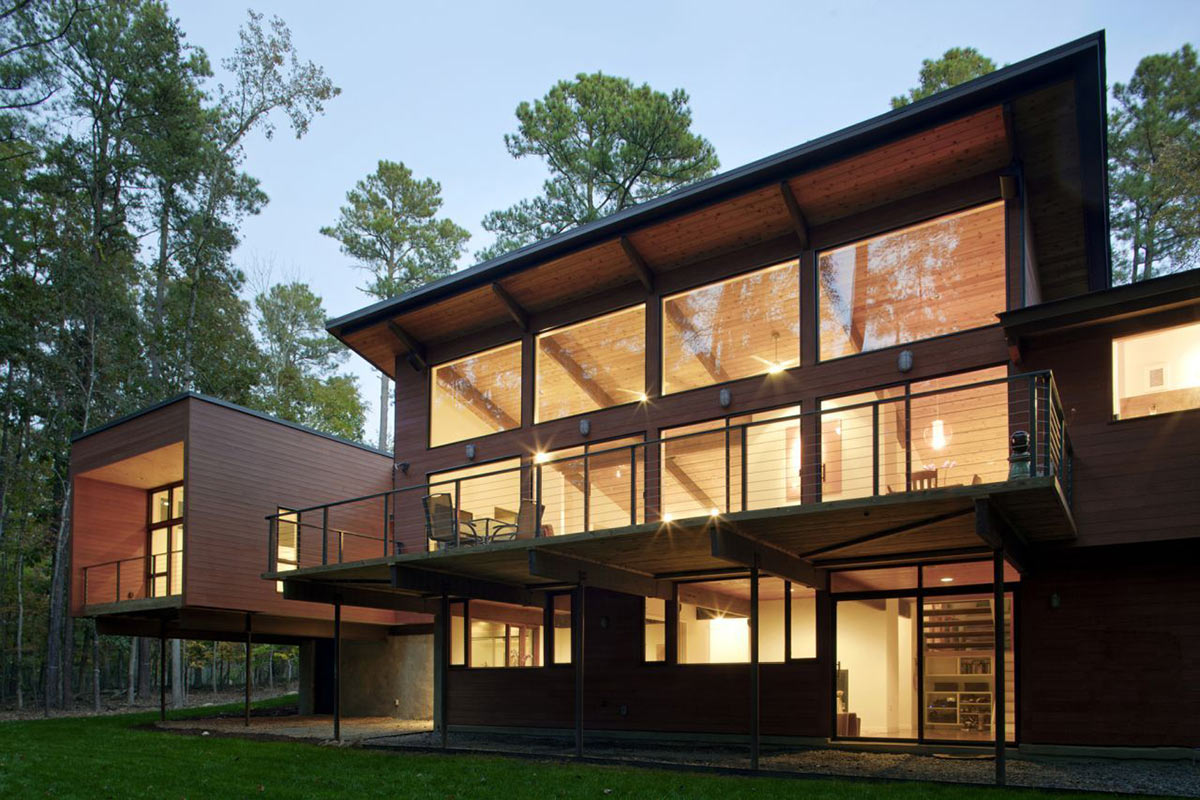 Glass Walls, Lighting, Deck House Renovation in Chapel Hill, North Carolina