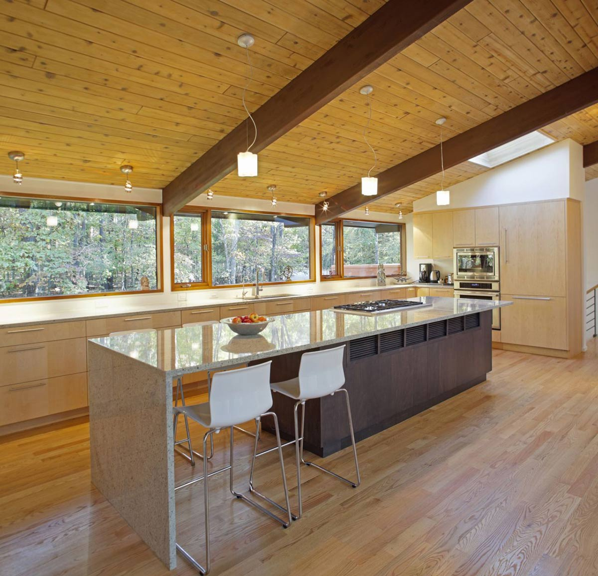 Kitchen Island, Breakfast Table, Deck House Renovation in Chapel Hill, North Carolina