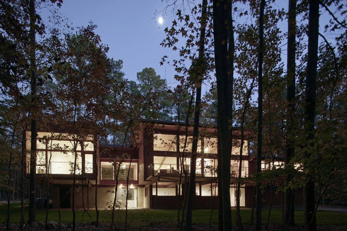 Through the Trees, Lighting, Deck House Renovation in Chapel Hill, North Carolina