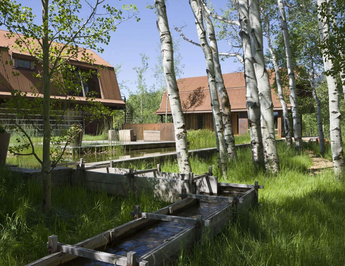 Water Feature, EHA Family Trust Residence in Wilson, Wyoming