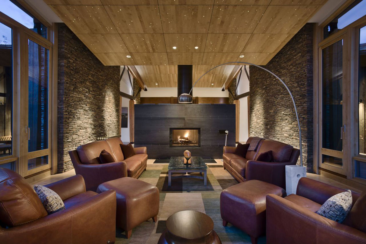 Modern Fireplace, Brown Leather Sofas, EHA Family Trust Residence in Wilson, Wyoming
