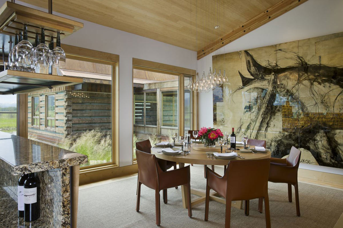 Dining Table, Art, Lighting, EHA Family Trust Residence in Wilson, Wyoming