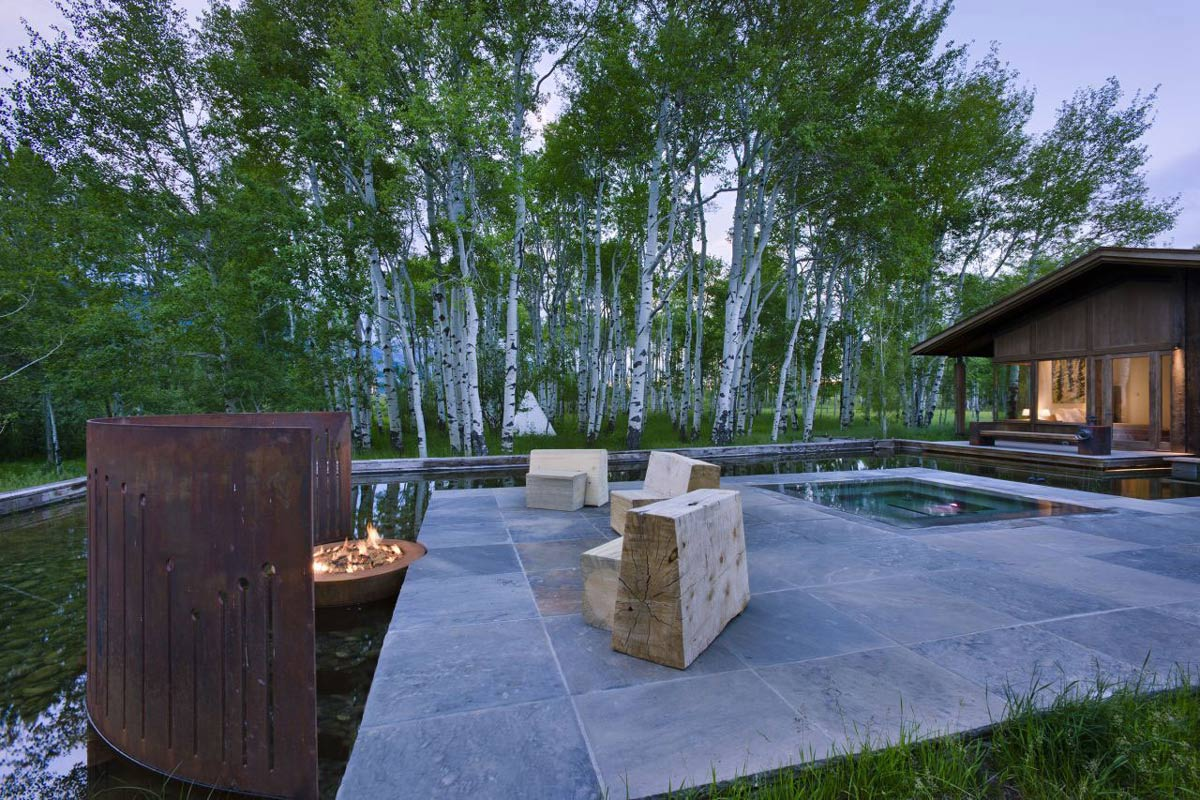 Jacuzzi, Fire Pit, Water Feature, Terrace, EHA Family Trust Residence in Wilson, Wyoming