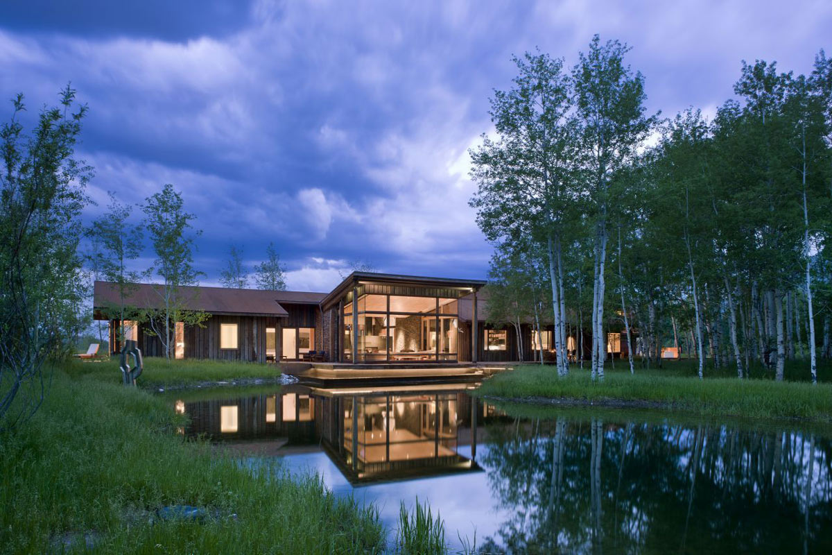 Pond, Lighting, EHA Family Trust Residence in Wilson, Wyoming