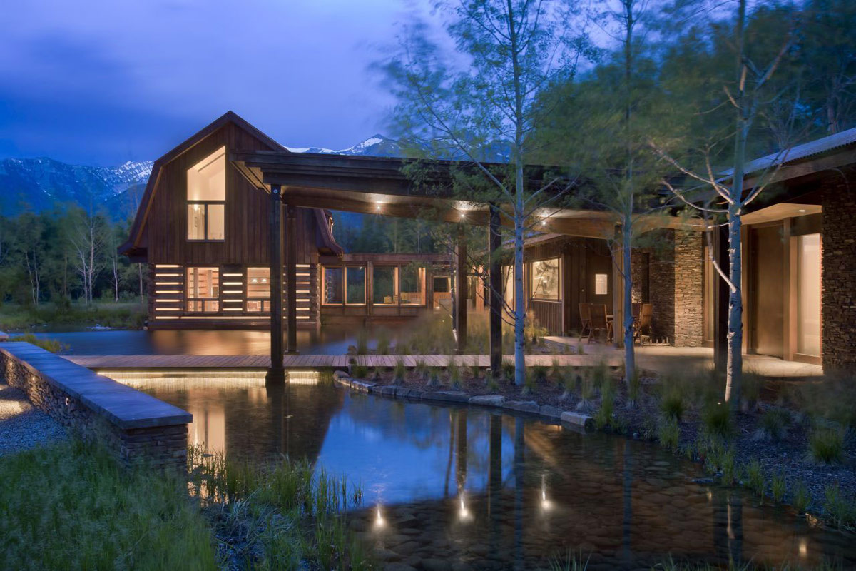 Water Feature, Dusk, Lighting, EHA Family Trust Residence in Wilson, Wyoming