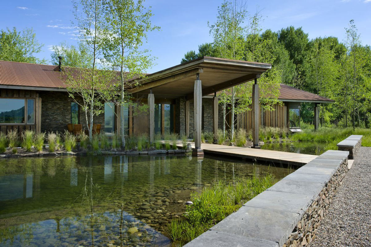Water Feature, Entrance, EHA Family Trust Residence in Wilson, Wyoming