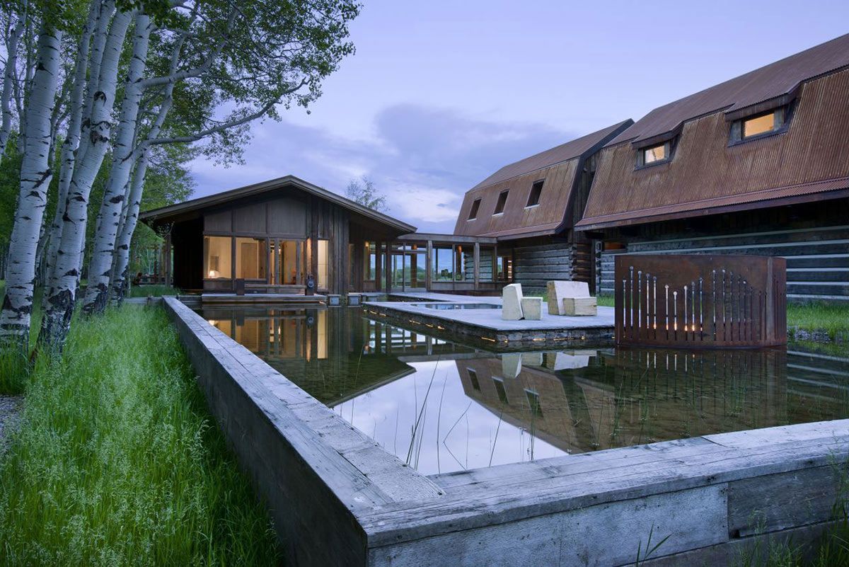 Water Feature, Hot Tub, EHA Family Trust Residence in Wilson, Wyoming
