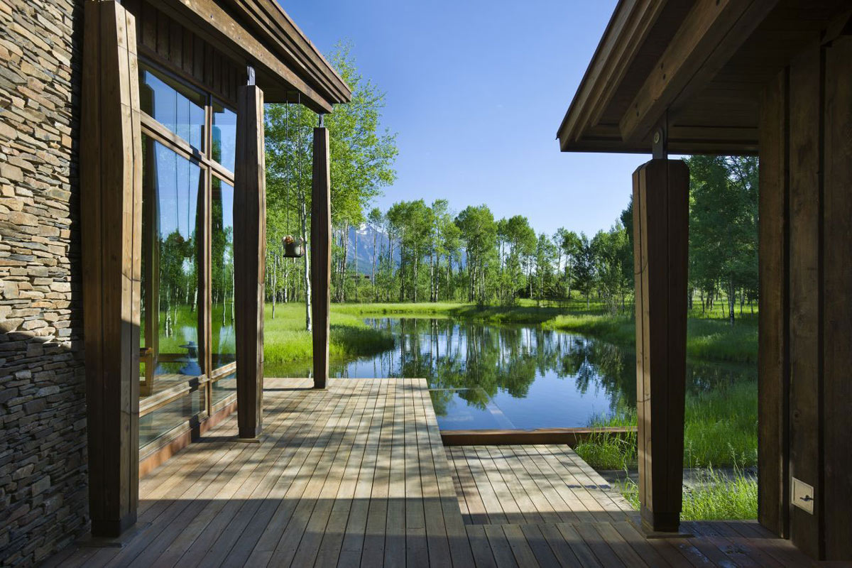Wood Decking, Pond, EHA Family Trust Residence in Wilson, Wyoming