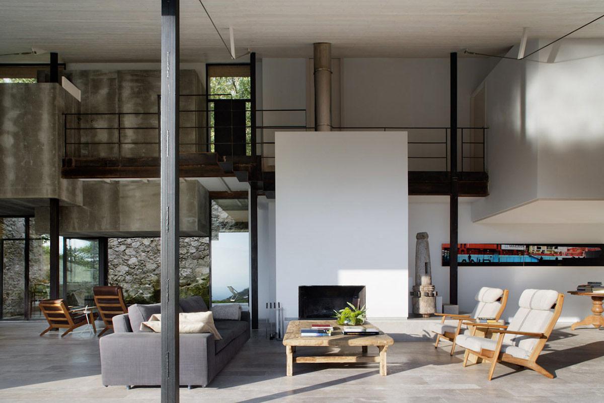 Fireplace, Open Plan Living, Finca en Extremadura in Cáceres, Spain by ÁBATON