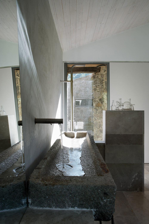 Granite Sink, Bathroom, Finca en Extremadura in Cáceres, Spain by ÁBATON