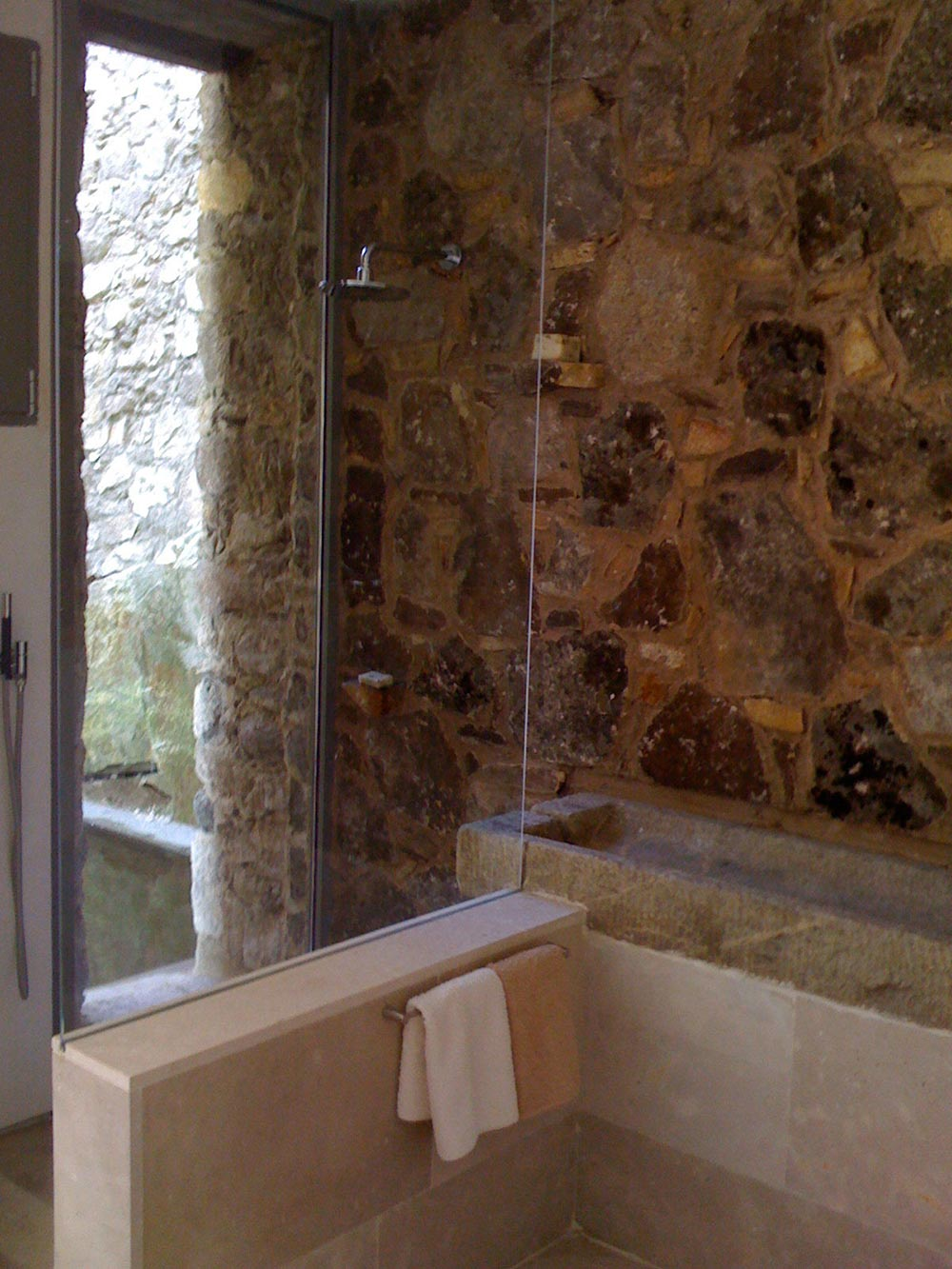 Shower, Glass Wall, Bathroom, Finca en Extremadura in Cáceres, Spain by ÁBATON