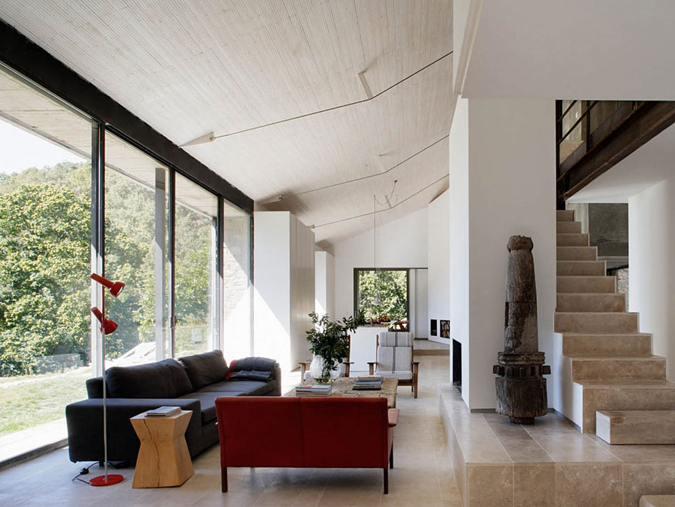 Tiled Stairs, Living Space, Finca en Extremadura in Cáceres, Spain by ÁBATON