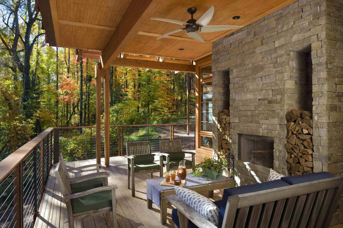 Outdoor Fireplace, Terrace, Greenland Road Residence in Atlanta by Studio One Architecture