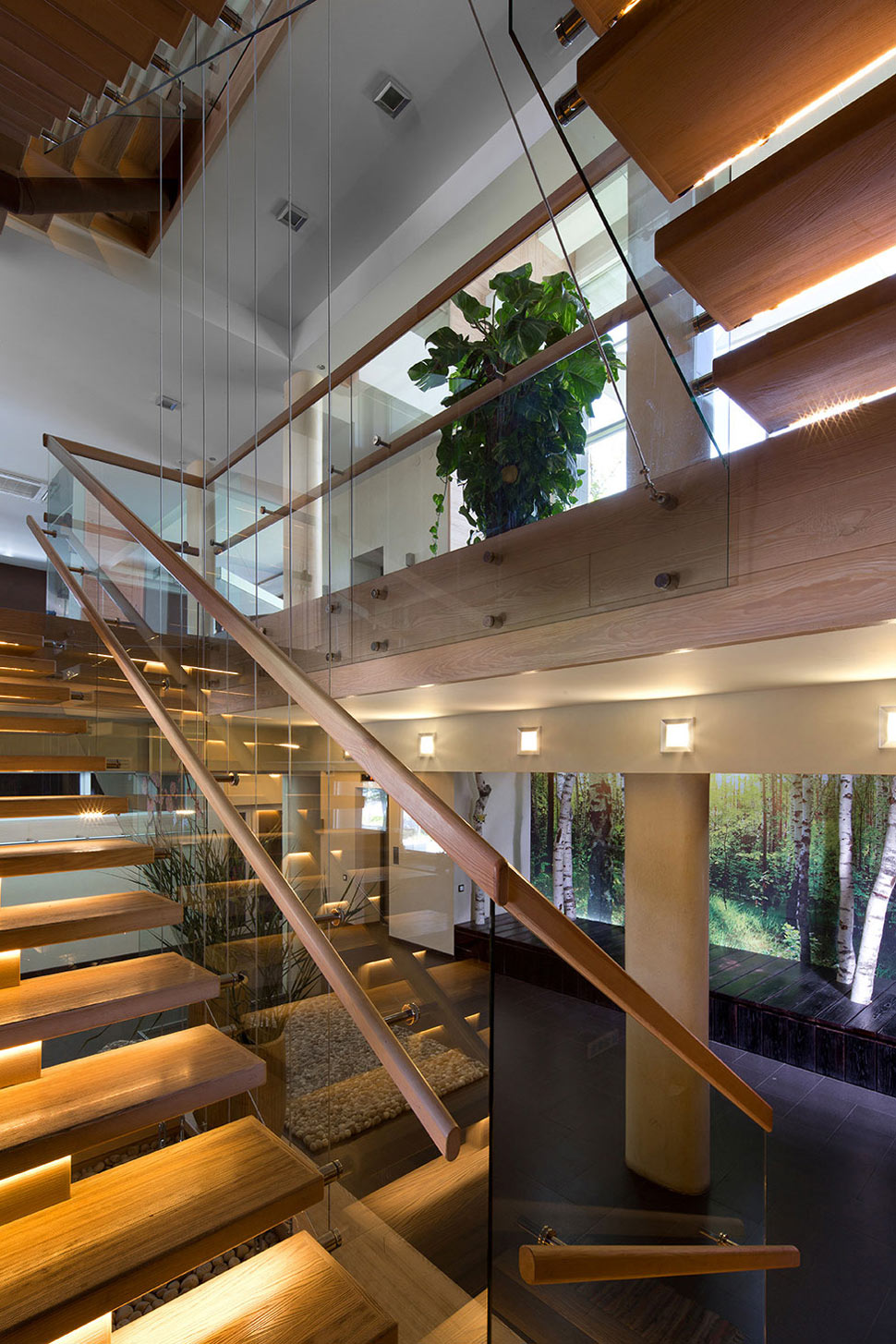 Wood & Glass Stairs, House in Dnepropetrovsk, Ukraine by Yakusha Design