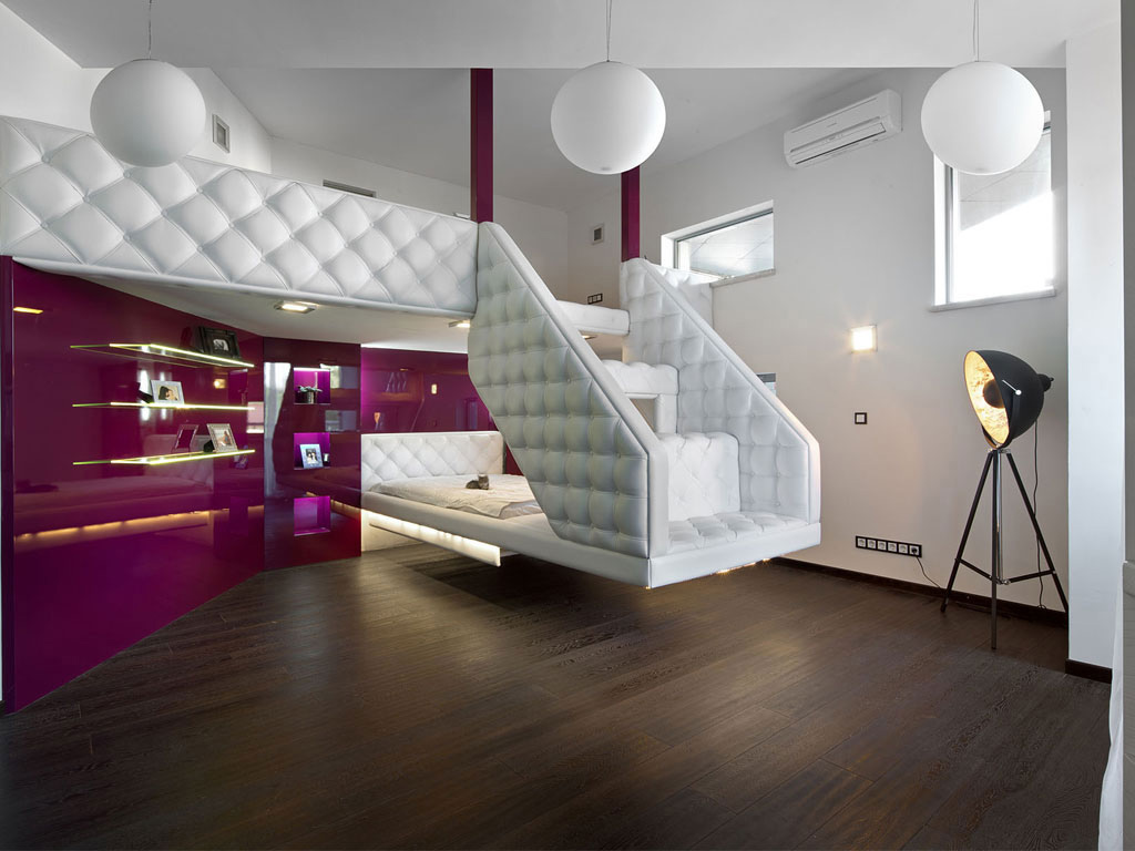 Modern Bedroom with Purple Walls, House in Dnepropetrovsk, Ukraine by Yakusha Design