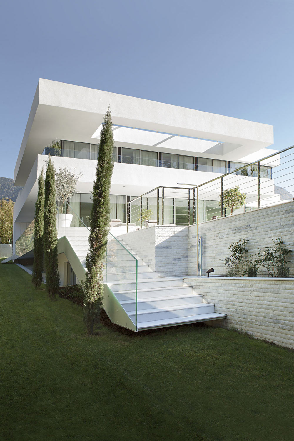 Garden Stairs, Glass & Wood, House M in Meran, Italy by monovolume architecture + design