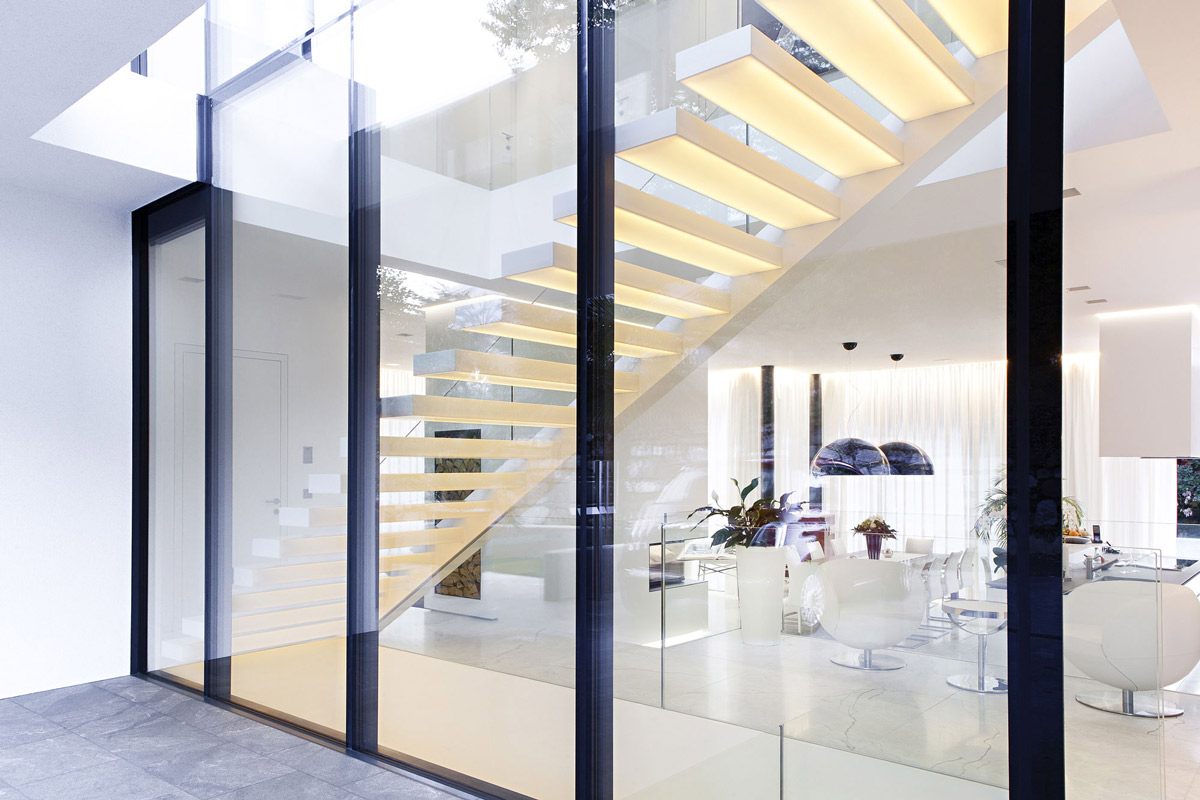 Glass Walls, Stairs, House M in Meran, Italy by monovolume architecture + design