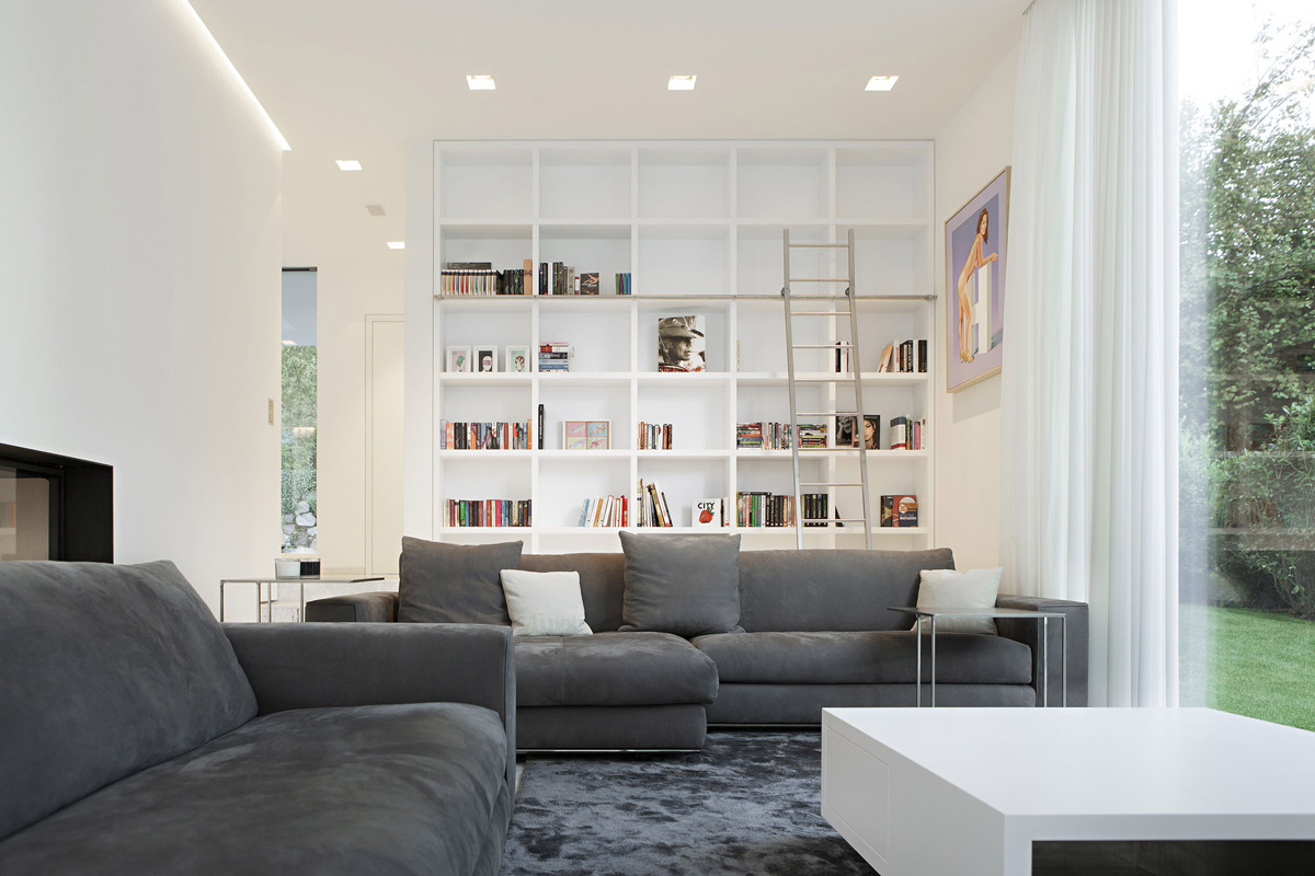Grey Sofas, Living Space, House M in Meran, Italy by monovolume architecture + design