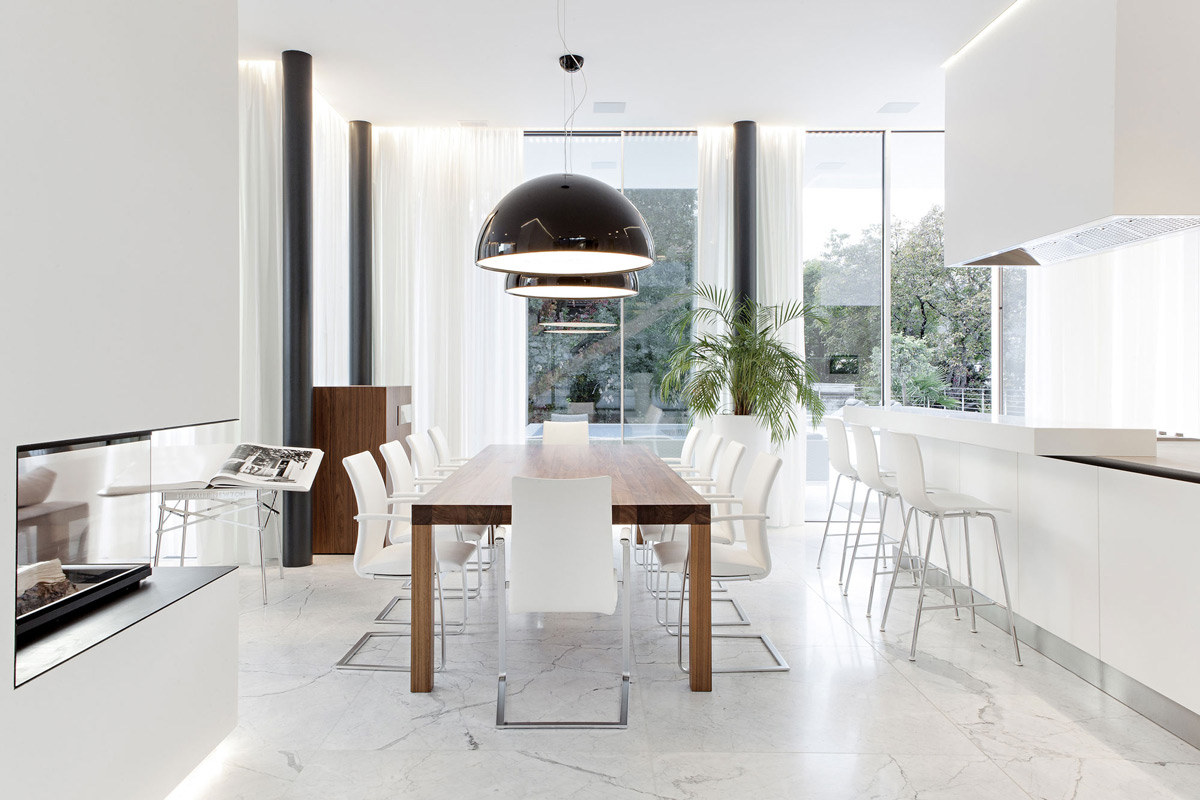 Modern Fireplace, Dining Space, Lighting, House M in Meran, Italy by monovolume architecture + design