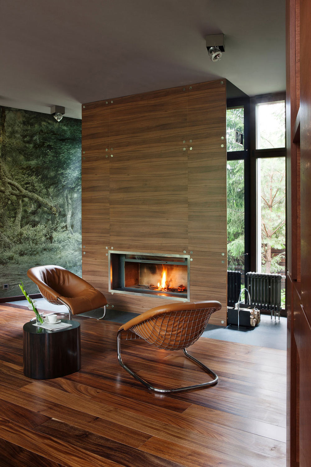 Fireplace, Chairs, Sophisticated House Near Moscow by Olga Freiman