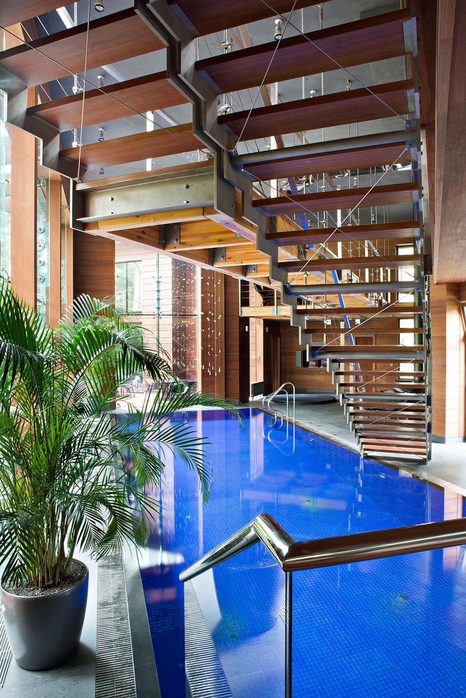 Indoor Pool, Stairs, Sophisticated House Near Moscow by Olga Freiman