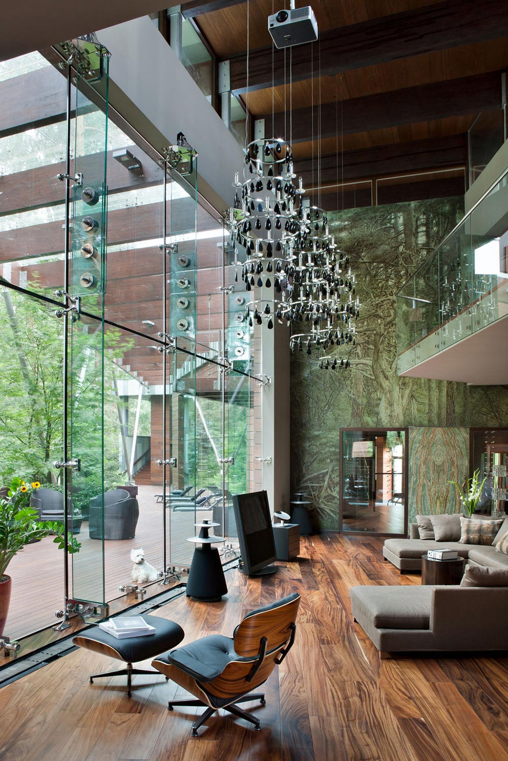 Living Space, Sofa, Glass Walls, Sophisticated House Near Moscow by Olga Freiman