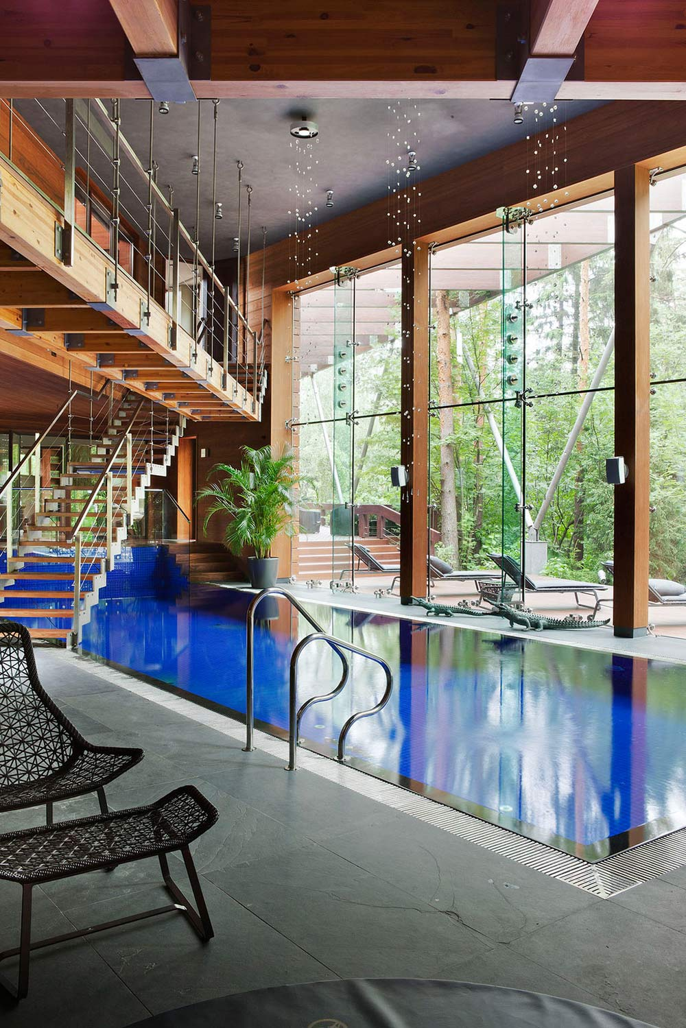 Stairs Over Pool, Sophisticated House Near Moscow by Olga Freiman