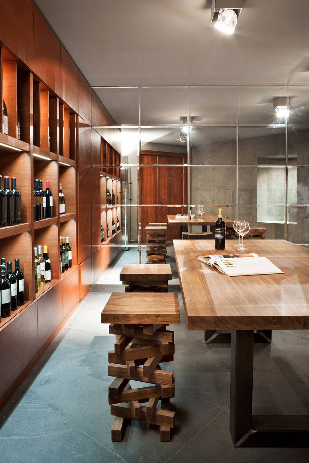Wine Room, Mirrored Wall, Sophisticated House Near Moscow by Olga Freiman
