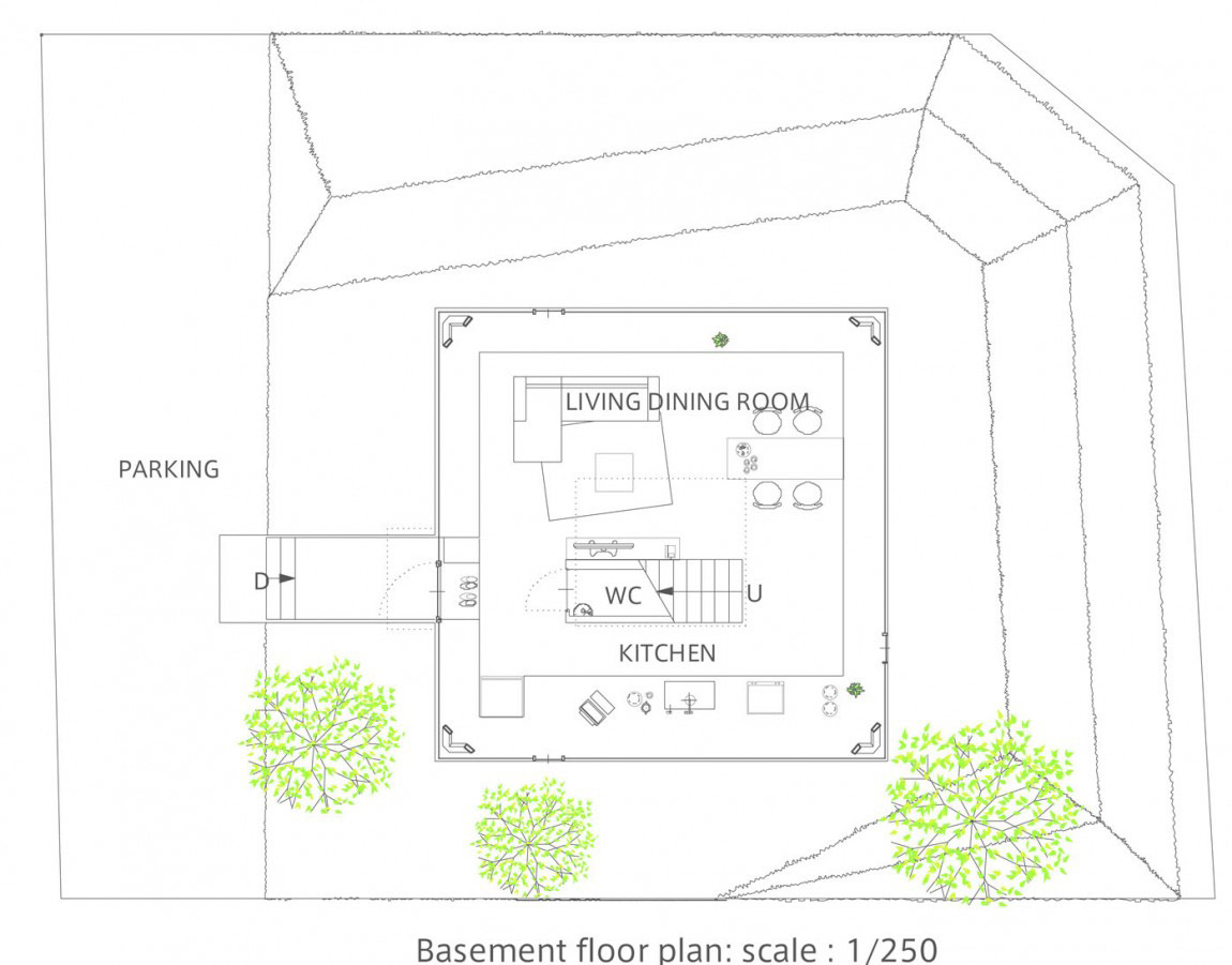 Basement Floor Plan, House in Saijo, Japan by Suppose Design Office