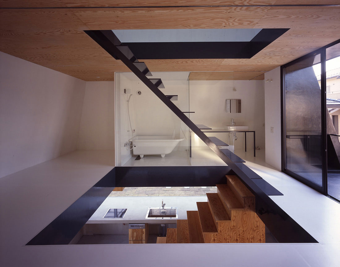Stairs, Bathroom, House in Saijo, Japan by Suppose Design Office