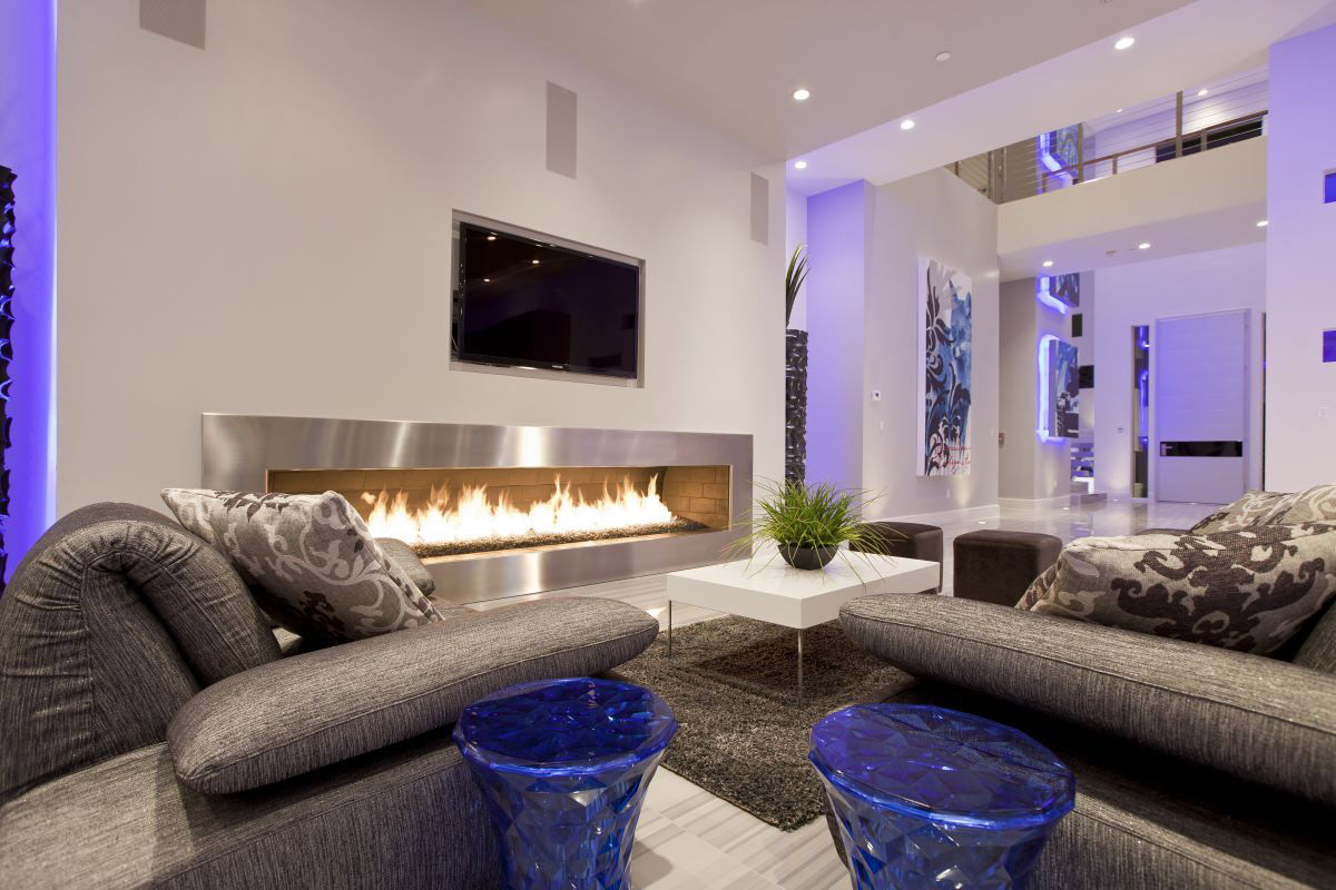 Contemporary Fireplace, Sofas, Hurtado Residence in Las Vegas by Mark Tracy of Chemical Spaces