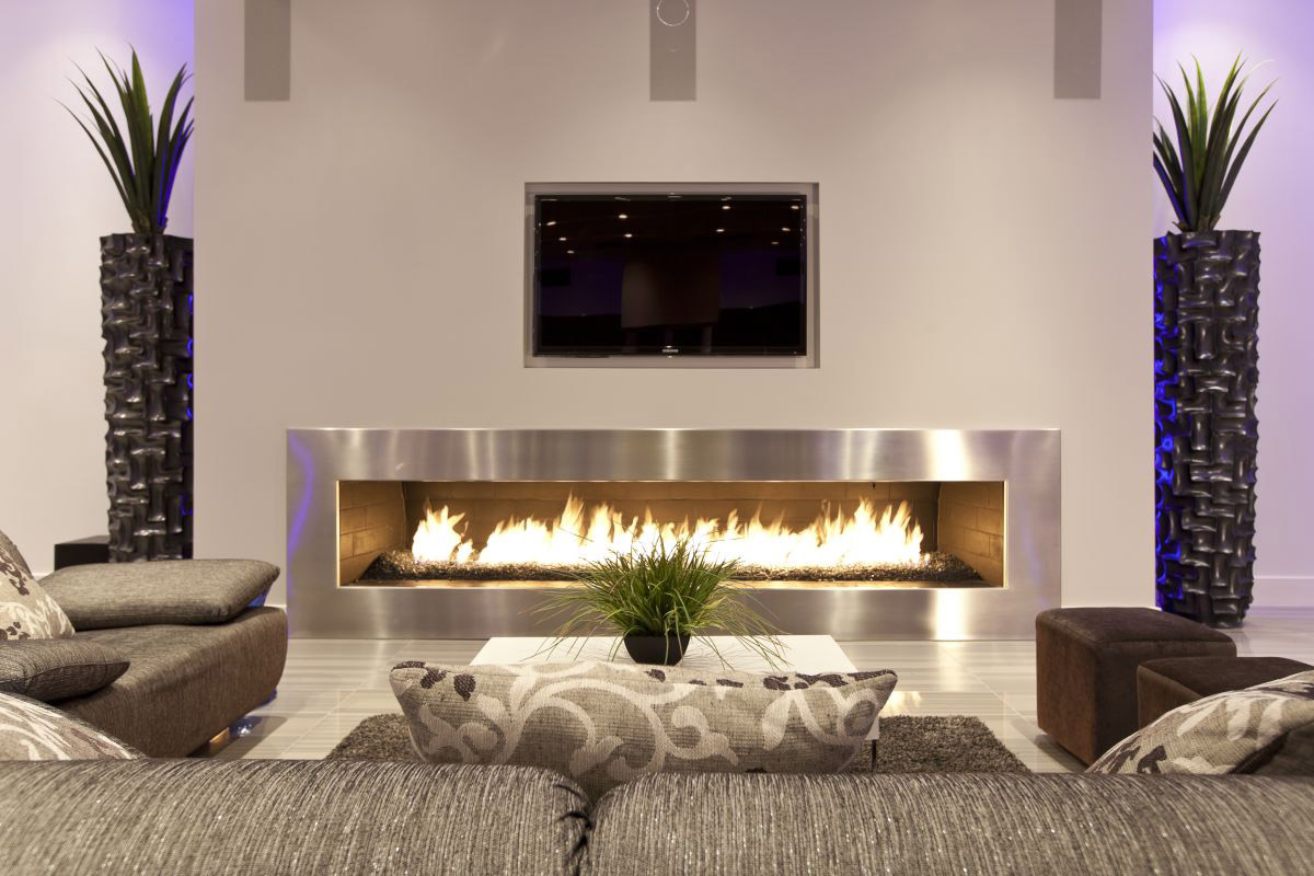 Modern Fireplace, Hurtado Residence in Las Vegas by Mark Tracy of Chemical Spaces