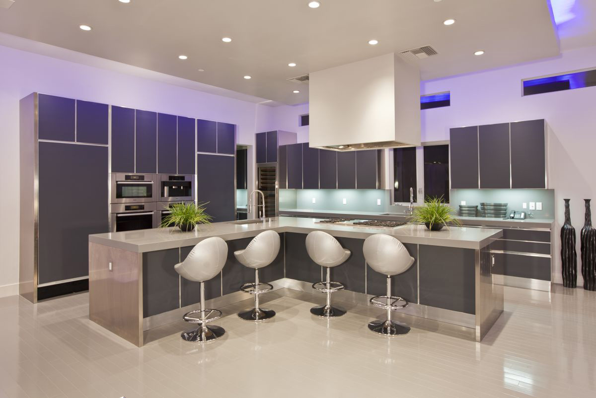 Modern Kitchen, Breakfast Bar, Hurtado Residence in Las Vegas by Mark Tracy of Chemical Spaces