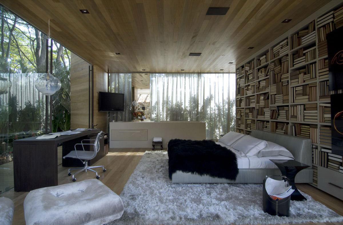 Bedroom, Rug, Desk, Bookshelf, Bed, Loft 24-7 in São Paulo, Brazil by Fernanda Marques Arquiteto Asociados