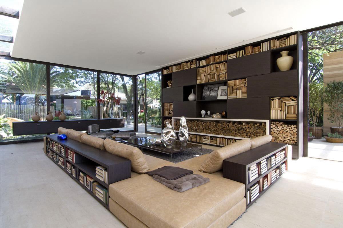 Sofas, Coffee Table, Bookshelf, Loft 24-7 in São Paulo, Brazil by Fernanda Marques Arquiteto Asociados