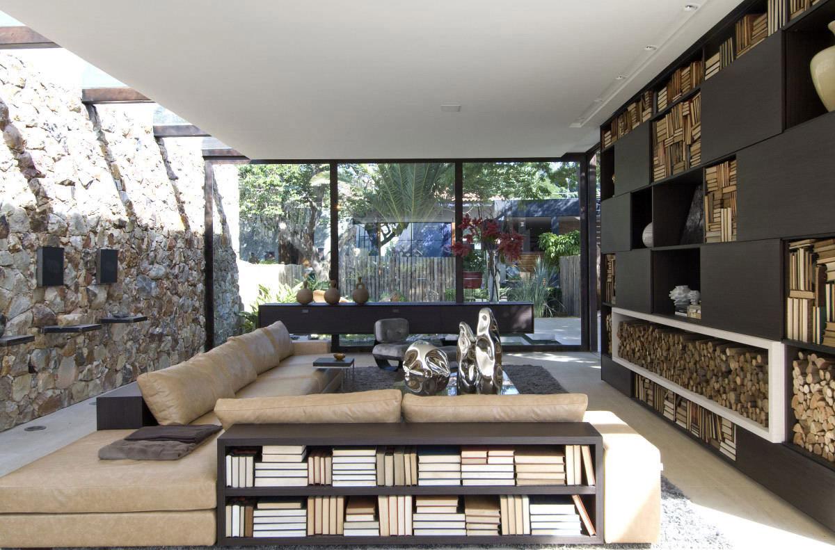 Stone Wall, Glass Wall, Sofas, Loft 24-7 in São Paulo, Brazil by Fernanda Marques Arquiteto Asociados