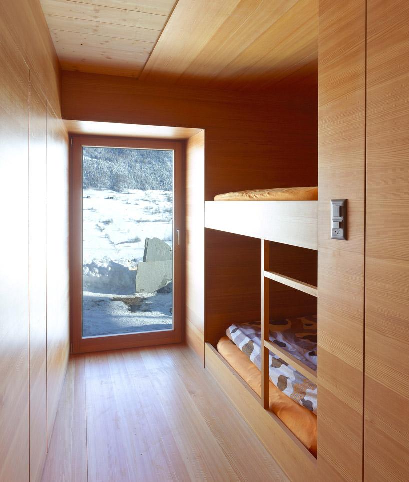 Bedroom, Maison Boisset in Orsières Swizterland by Savioz Fabrizzi Architectes