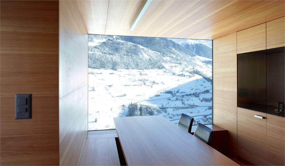 Dining Space, Maison Boisset in Orsières Swizterland by Savioz Fabrizzi Architectes