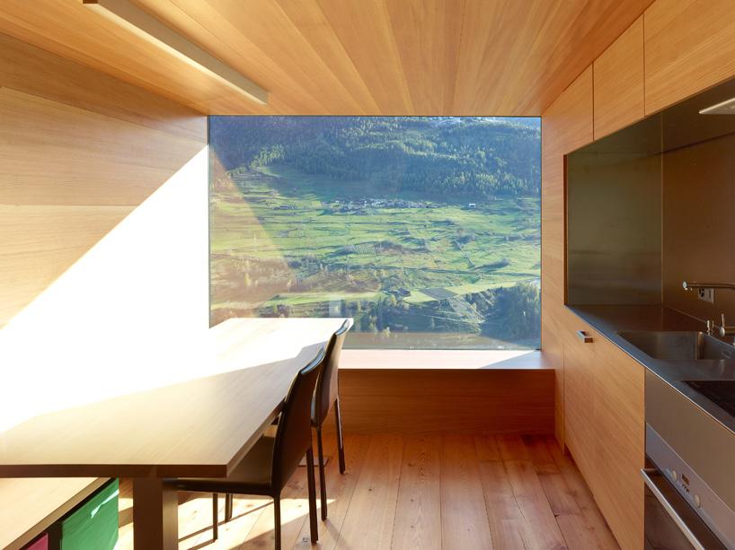 Kitchen, Dining, Mountain Views, Maison Boisset in Orsières Swizterland by Savioz Fabrizzi Architectes
