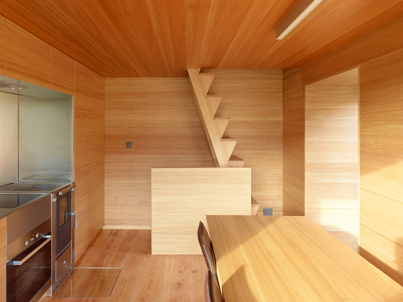 Stairs, Kitchen, Dining Space, Maison Boisset in Orsières Switzerland by Savioz Fabrizzi Architectes